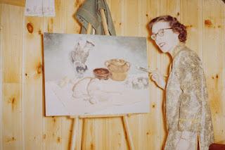 Clémence St-Laurent à son studio à Noranda en 1958