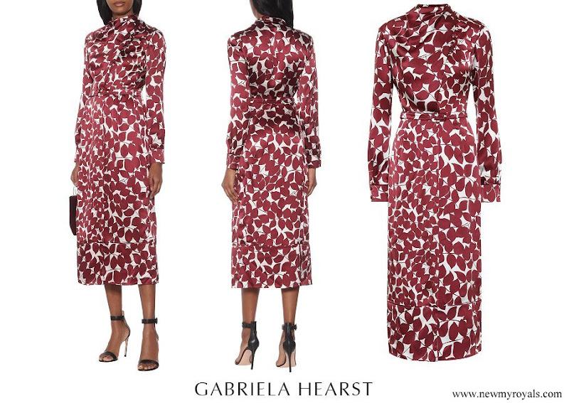 Queen Mathilde wore GABRIELA HEARST Josefina silk satin midi dress