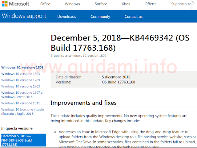 Pagina changelog update KB4469342 sito Microsoft