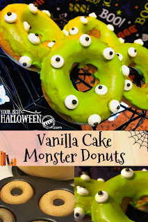 easy vanilla cake donuts recipe with monster eyes
