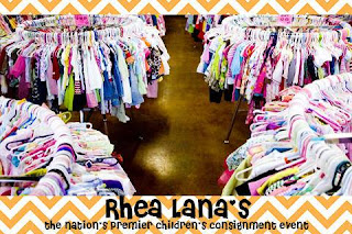round racks of clothing at a Rhea Lana's sale event
