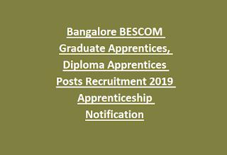 Bangalore BESCOM Graduate Apprentices, Diploma Apprentices Posts Recruitment 2019 Apprenticeship Notification