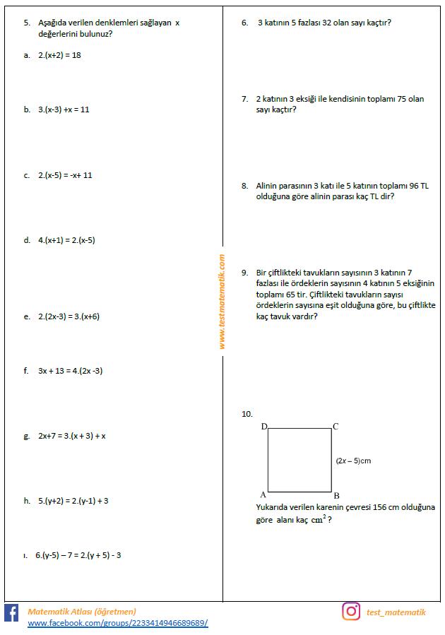 7 Sinif Esitlik Ve Denklem Calisma Kagidi Test Matematik