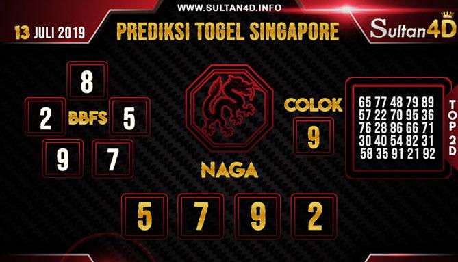 PREDIKSI TOGEL SINGAPORE SULTAN4D 13 JULI 2019