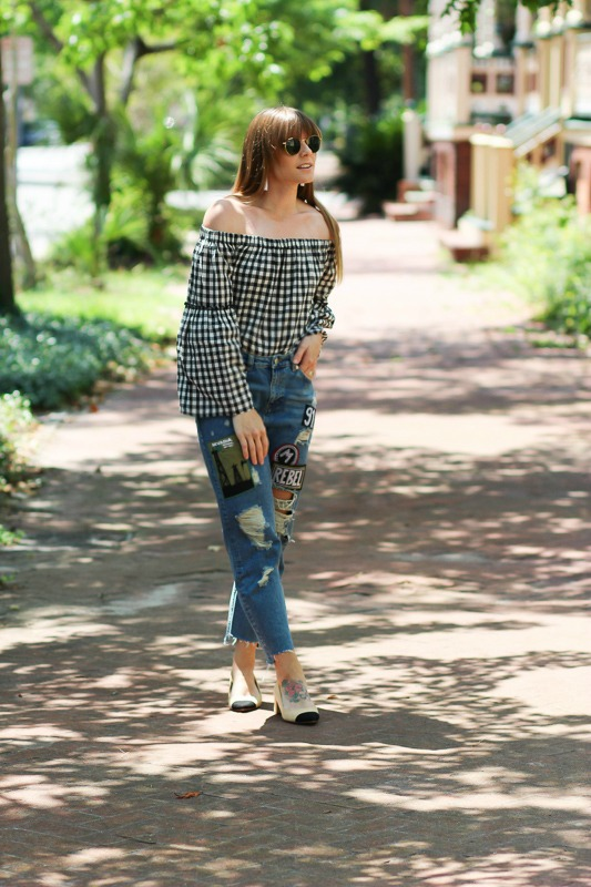 Denim patches and gingham tops