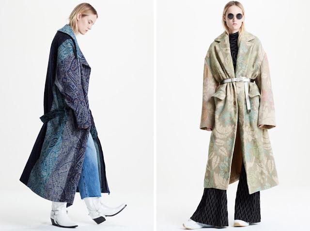 Девушки в пальто оверсайз с цветочным принтом и пейсли
