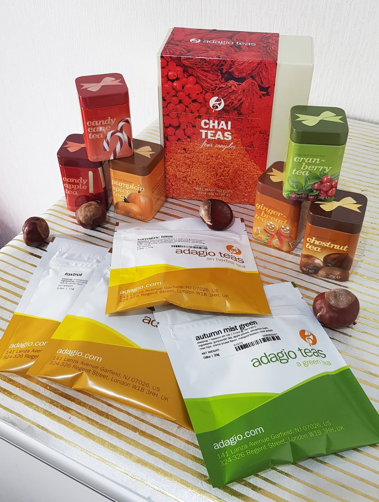 Selection of teas from Adagio Teas for the autumn/fall and winter seasons including Yuletide Toddy