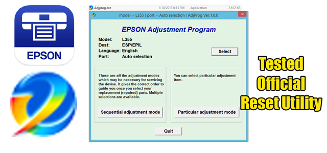 Epson L355 Adjustment program (Reset Utility)