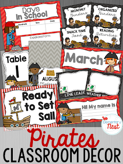 Pirates Themed- Classroom Decor Collection to transform your classroom- pick a scheme or a theme to make your classroom decorated and organized