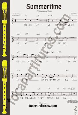 Partitura de Summertime con notas para tocar con tu instrumento en clave de Sol y flauta Easy Recorder Notes Sheet Music