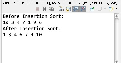 How to sort array elements using Insertion Sort algorithm