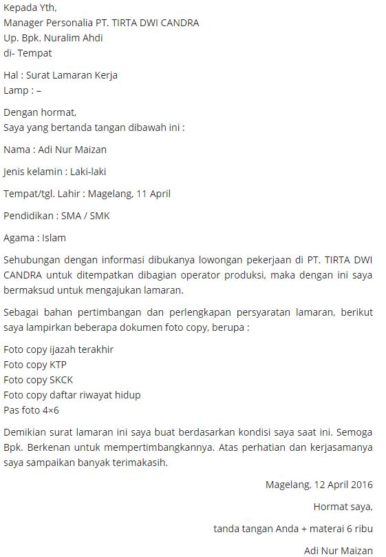 Contoh Surat Lamaran Untuk Operator Produksi
