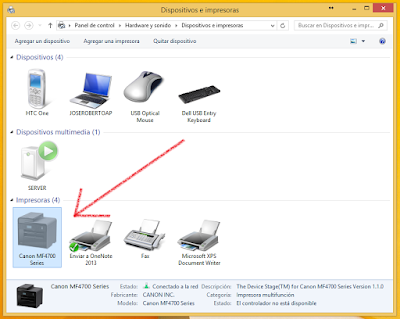 devices and Printers in Windows 8.1