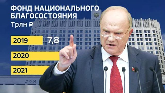 Грабительская политика «Единой России» и «мертвый груз» в ФНБ ценностью 14 трлн руб. – мнение Г. Зюганова