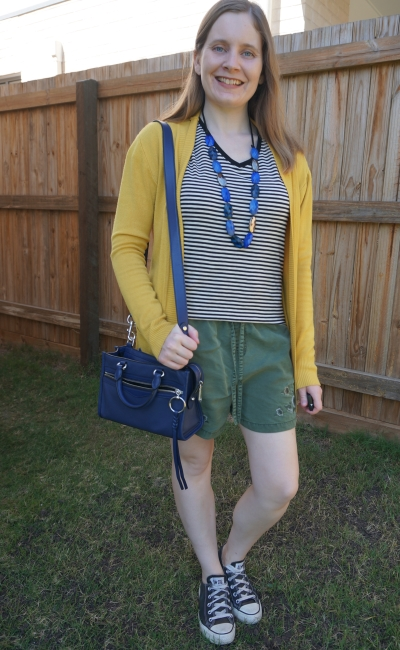spring cardigan and shorts outfit with striped tee converse mustard olive and navy accessories | awayfromblue