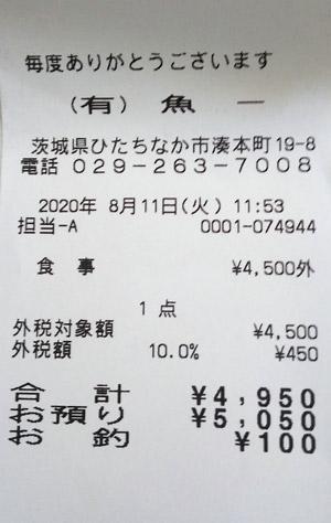 お食事処 魚一 2020/8/11 飲食のレシート