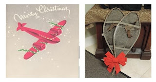 Left: Christmas Card sent home to Franklin from Gerald Parmenter During WWII