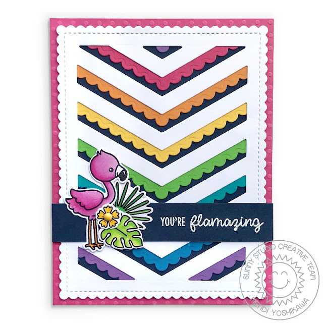 Sunny Studio Stamps: Fabulous Flamingos Rainbow Chevron Scalloped Card (using Fishtail Banner & Frilly Frames Dies)
