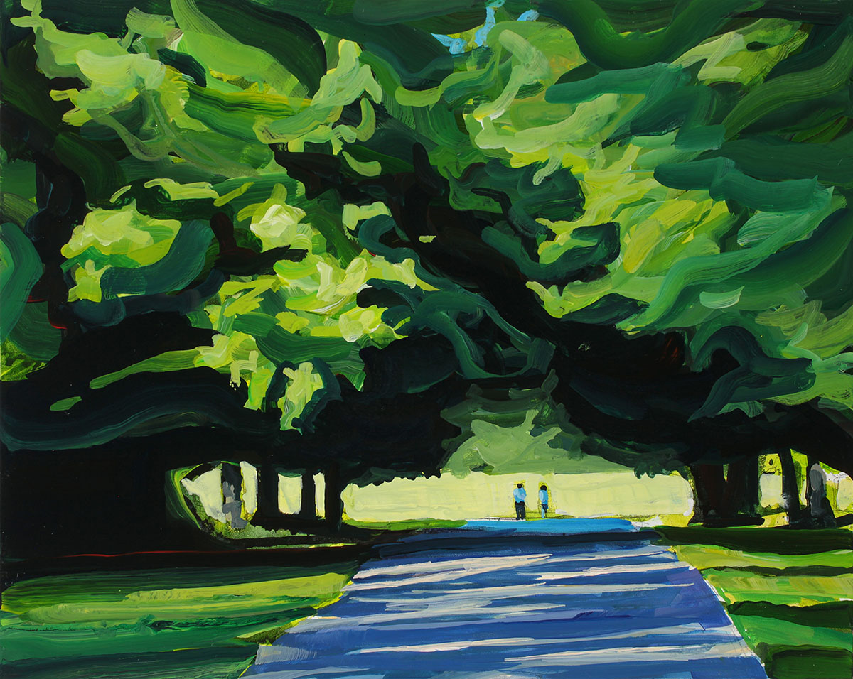 Acrylic painting of trees at knox farms in east aurora, ny