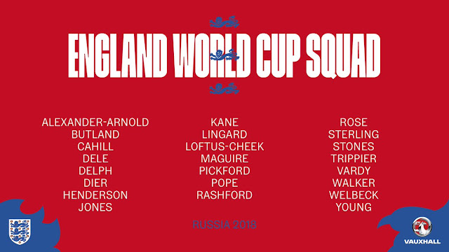 England Russia 2018 23-man world cup squad