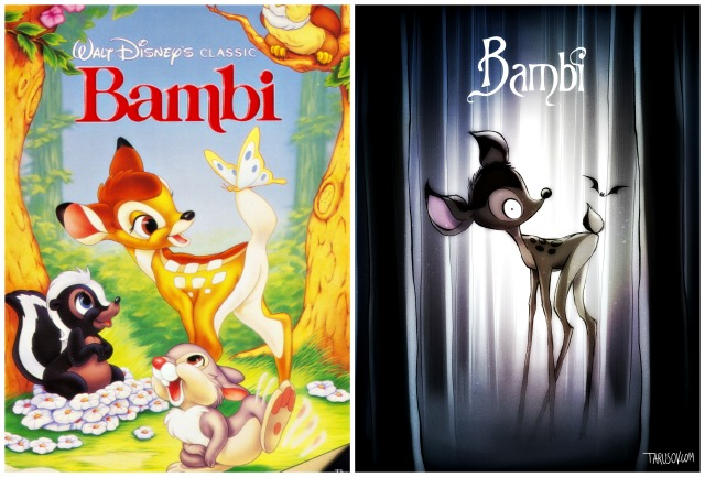 Illustrator Andrew Tarusov redesigns  Disney's classic movie character  Bambi  into Tim Burton's dark gothic style via geniushowto.blogspot.com Illustrations 1