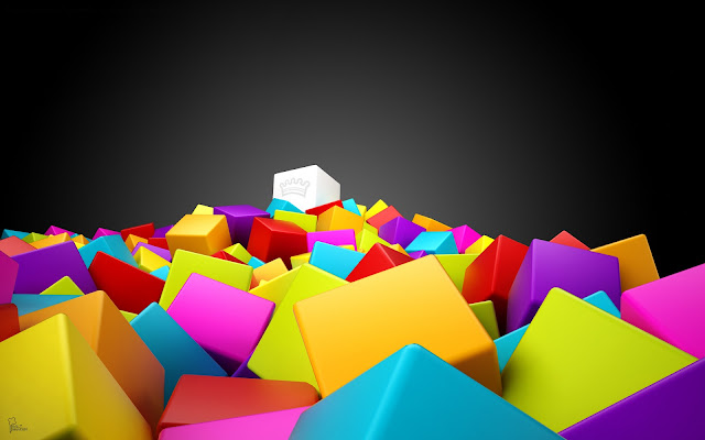 wallpaper 3d colorful squares wide