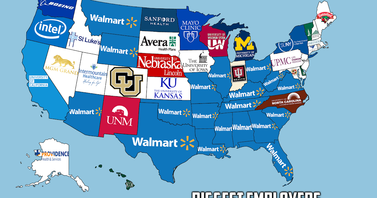 The Biggest Employer In Each US State Vivid Maps - Walmart us map
