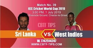 Who will win ICC CWC 2019 39th Match West Indies vs Sri Lanka