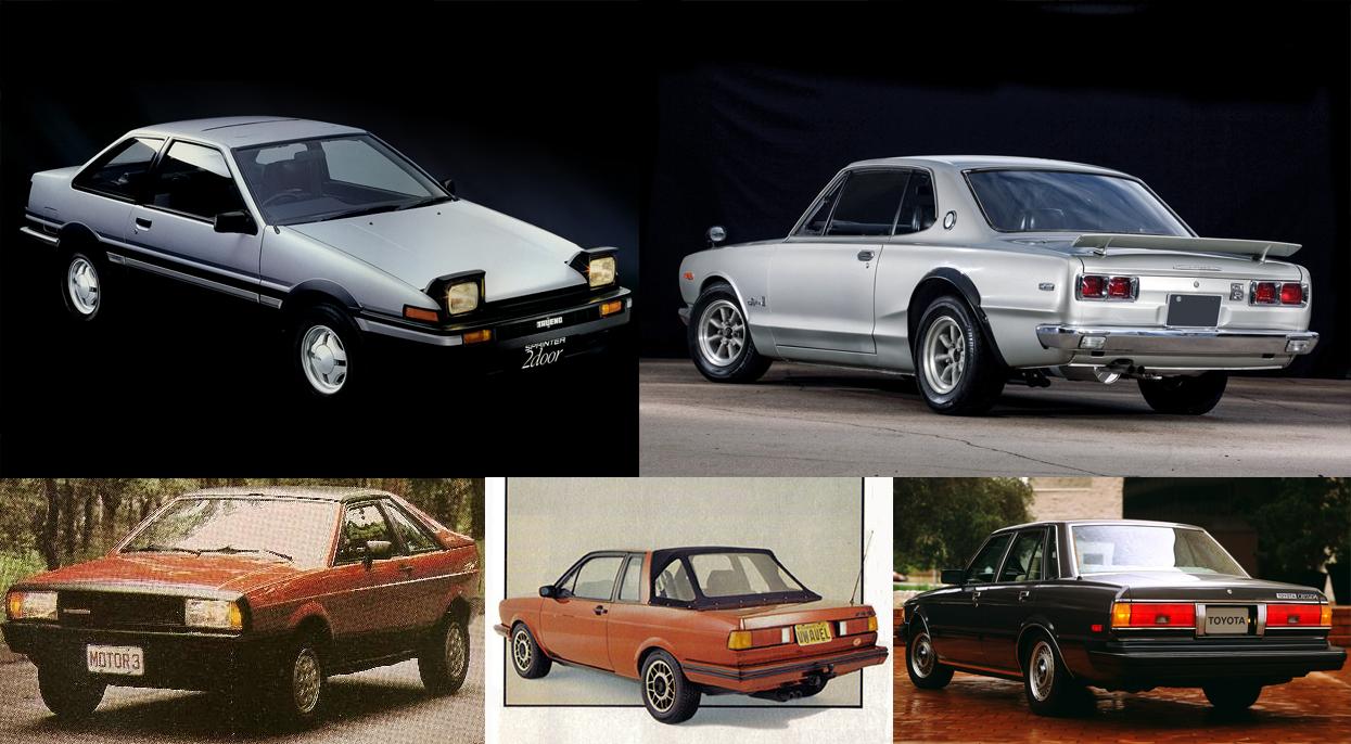 Imagens do Toyota Sprinter Trueno, Nissan Skyline 2000GT-R, Guepardo, Avel Voyage e Toyota Cressida