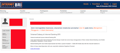 Dashboard Internet Banking BRI