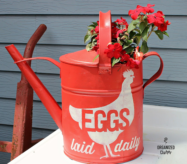 Free Garden Junk Up-cycling Projects #milkcan #gardenjunk #vintage #farmhouse #stencil #oldsignstencils #impatiens #containergarden #farmhousestyle #wateringcan