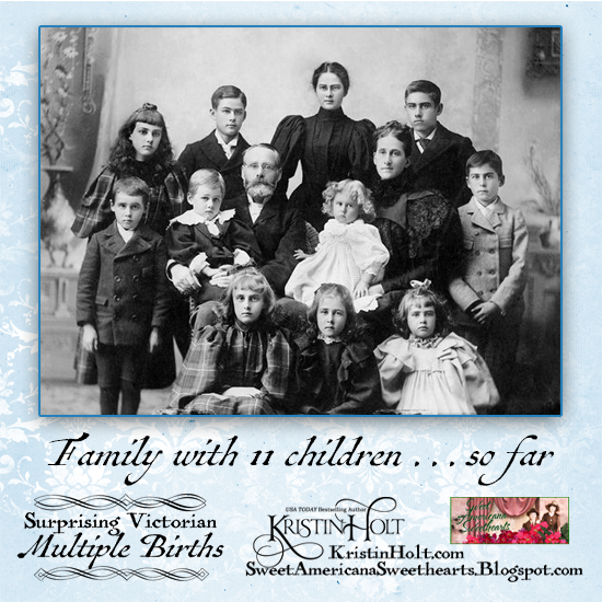 Kristin Holt | Surprising Victorian Multiple Births. Vintage phogoraph of late Victorian family with father, mother, and eleven children. Image: Pinterest.