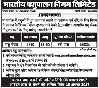 Bhartiya Pashupalan Nigam Limited (BPNL) Recruitment Notification 2017