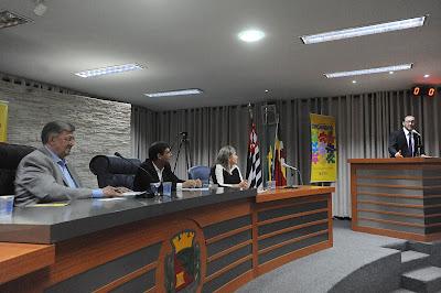 Mesa Diretora com Deputado Orlando Bolçone, Sebastião Santos, Glaucia Simões e André Rezeck na tribuna - Audiência Pública do Orçamento estadual de SP 2017 em Barretos 24/06/2016