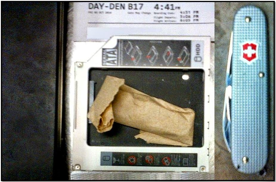 A three-inch knife was found concealed inside of a laptop's hard drive caddy at Dayton International Airport (DAY).