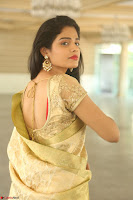 Harshitha looks stunning in Cream Sareei at silk india expo launch at imperial gardens Hyderabad ~  Exclusive Celebrities Galleries 039.JPG