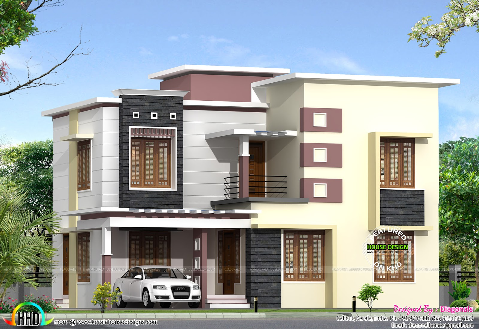 Modern box type 2068 sq ft home kerala home design for Modern box type house design