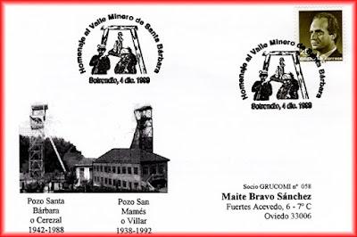 Tarjeta del matasellos de GRUCOMI, homenaje al Valle minero de Santa Bárbara en Sotrondio.