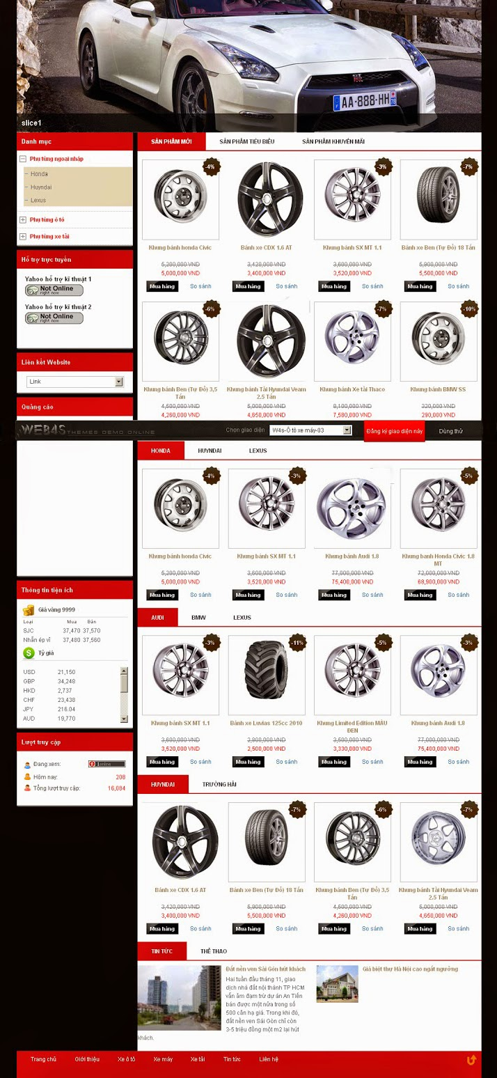 website bán phụ tùng ô tô chuyên nghiệp
