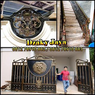 Contoh Railing tangga, pintu gerbang dan pagar besi tempa klasik Cibubur