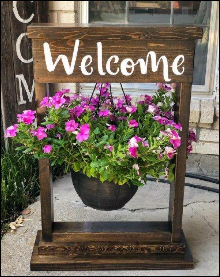 Welcome sign Hanging flower basket stand porch decor home garden