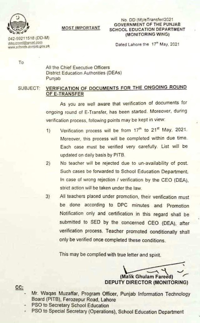 VERIFICATION OF DOCUMENTS FOR THE ONGOING ROUND OF e-TRANSFER