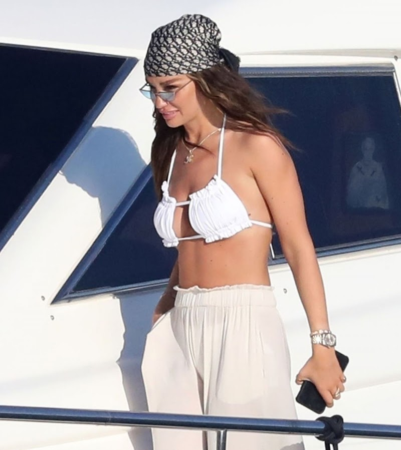 Ruby Mae Clicked in Bikini Top at a Boat in Greece 10 Aug -2020