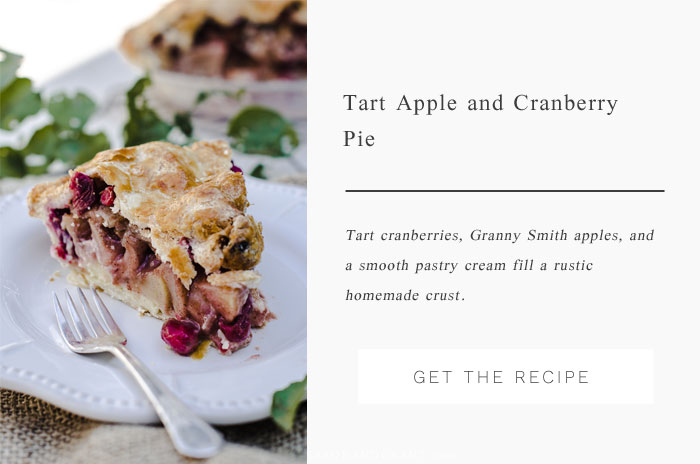 Tart cranberies, granny smith apples, and a smooth pastry cream join together in a homemade crust for this Rustic Apple Cranberry Pie for fall.
