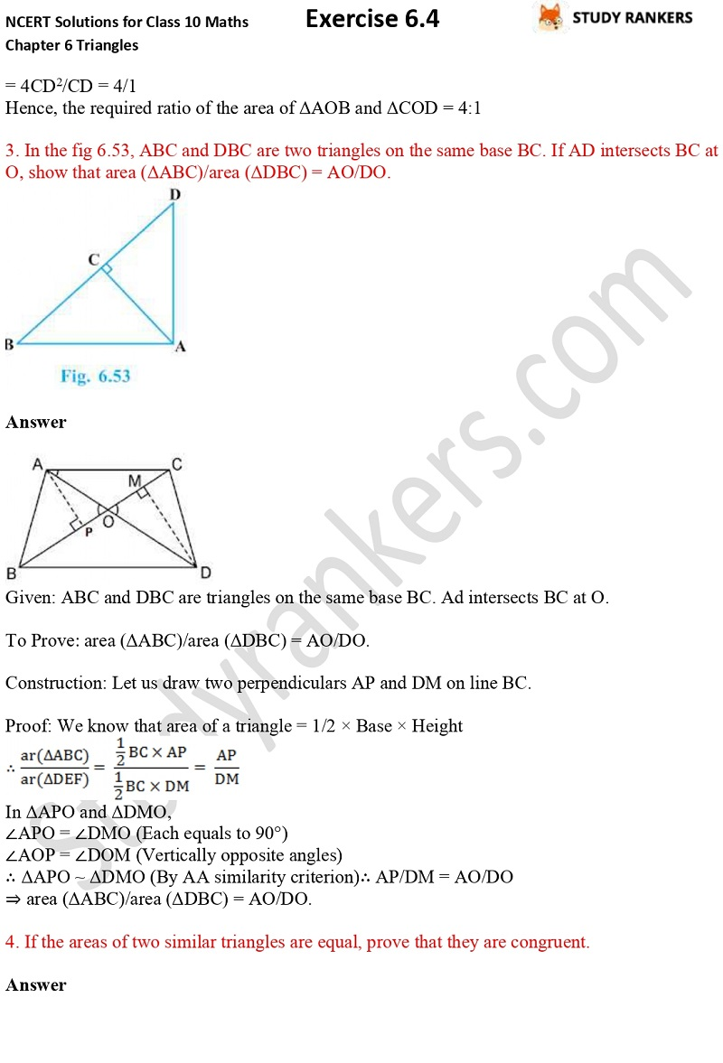 NCERT Solutions for Class 10 Maths Chapter 6 Triangles Exercise 6.4 Part 2