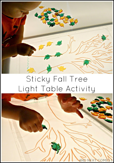 Sticky fall tree light table sensory activity that works on fine motor skills from And Next Comes L