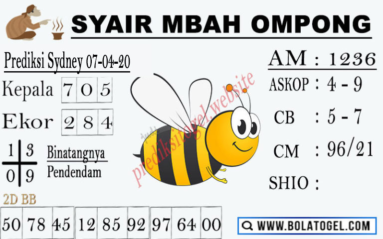 Syair Sidney Selasa 07 April 2020 - Syair Mbah Ompong Sidney