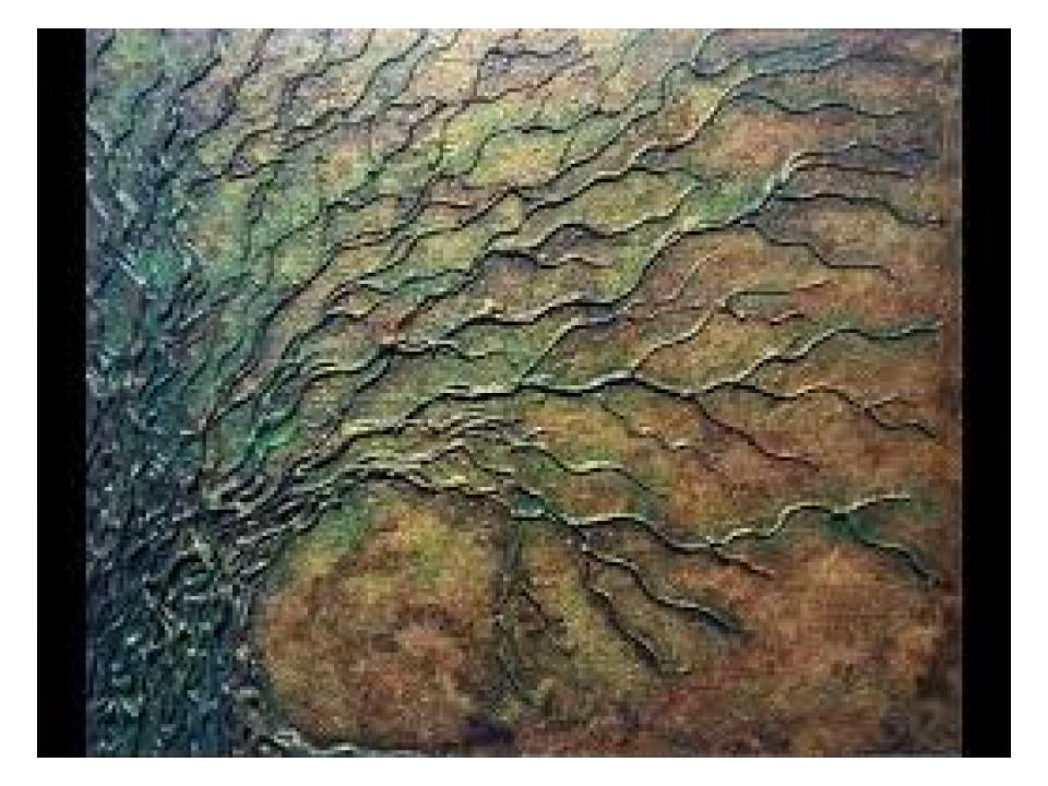 glue, gesso, acrylic paint make an antiqued painting