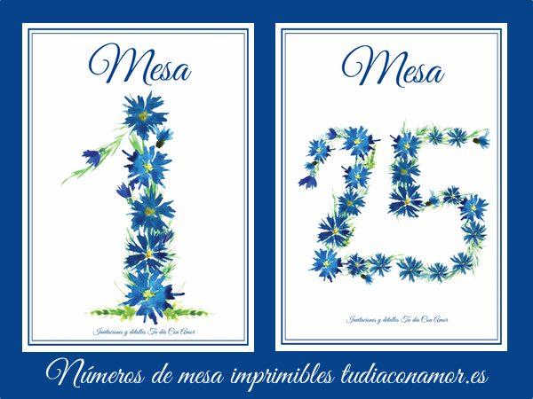 25 números de mesa de estilo rústico con números de flores de acuarela, los podéis descargar gratis para imprimir