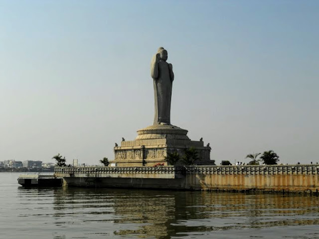 Things to do in Hyderabad India: Take a boat to the Buddha statue at Hussain Sagar